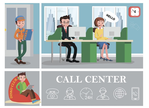 Composición colorida del centro de llamadas con servicios de línea de ayuda, trabajadores de soporte y operadores telefónicos, iconos lineales de teléfonos con globo vector gratuito