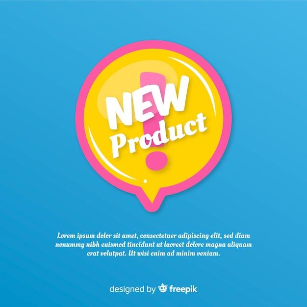 Composición colorida de nuevo producto con diseño plano vector gratuito