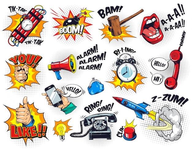Composición cómica de elementos brillantes con redacción de burbujas de discurso vector gratuito