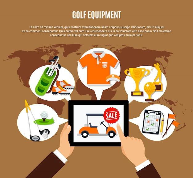 Composición de compra de equipos de golf en línea vector gratuito