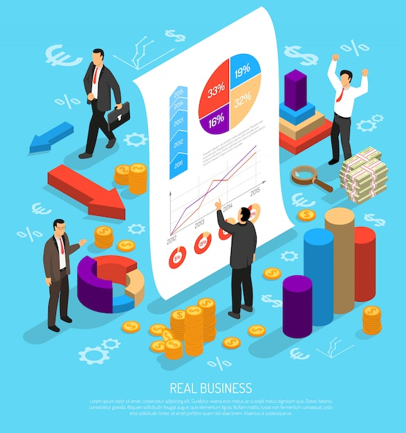 Composición conceptual de infografía empresarial vector gratuito