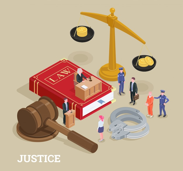 Composición conceptual isométrica de justicia legal con personajes de personas pequeñas y grandes iconos proceso de ilustración de símbolos de ley vector gratuito
