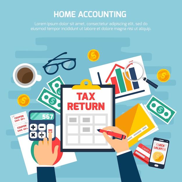 Composición de la contabilidad del hogar vector gratuito