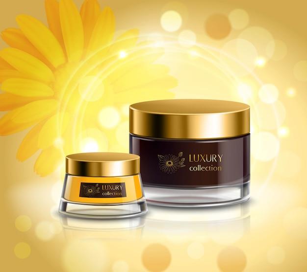 Composición cosmética de productos cosméticos. vector gratuito