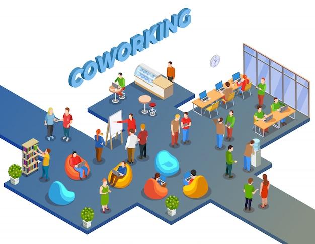 Composición de coworking en espacios abiertos vector gratuito