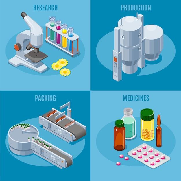 Composición cuadrada de la industria farmacéutica isométrica con equipos de producción y embalaje de tubos de microscopio píldoras médicas medicamentos medicamentos aislados vector gratuito