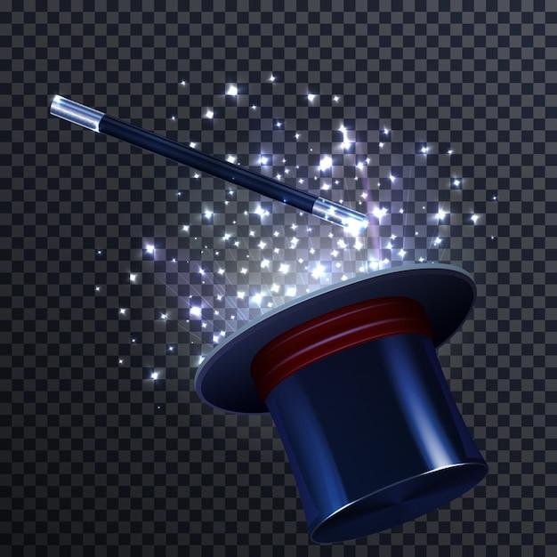 Composición de cuento con varita mágica y sombrero de mago vector gratuito