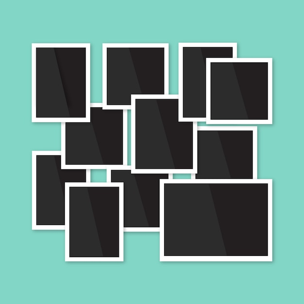 Composición de collage de marcos de fotos con diseño plano ...
