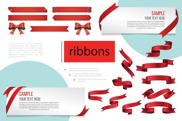 Composición decorativa cintas en blanco rojas vector gratuito