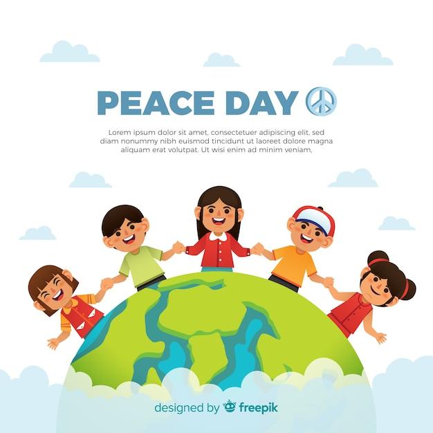 Composición del día de la paz dibujada a mano con niños cogidos de la mano vector gratuito