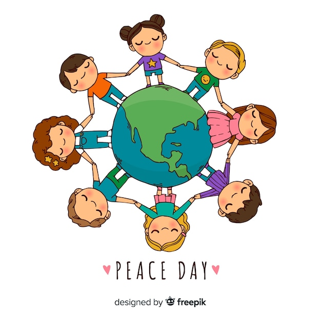 Composición del día de la paz con niños dibujados a mano vector gratuito