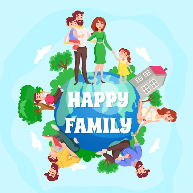 Composición de dibujos animados familia feliz vector gratuito
