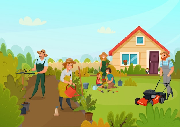Composición de dibujos animados de jardinería vector gratuito
