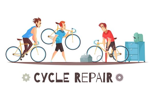 Composición de dibujos animados mecánico de reparación de bicicletas vector gratuito