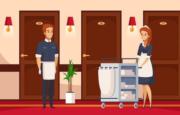Composición de dibujos animados del personal del hotel vector gratuito