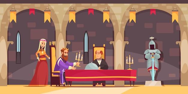 Composición de dibujos animados plana interior del área del comedor real del castillo medieval con el rey que se sirve comida vector gratuito