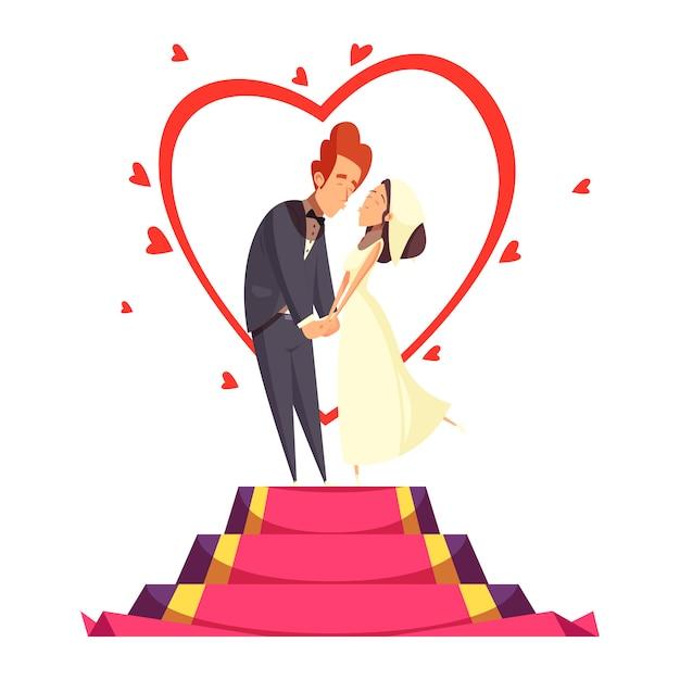 Composición de dibujos animados de recién casados vector gratuito