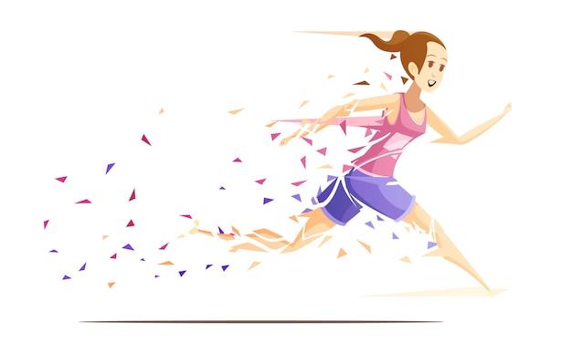 Composición de dibujos animados retro de acción de mujer corredor con atleta corriendo chica cayendo a pedazos de ilustración de vector de papel splash Vector Premium