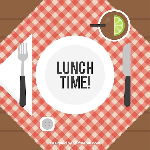 Composición de diseño plano con elementos de almuerzo vector gratuito