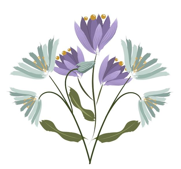 Composición de dos especies de flores. crocus y agapanthus vector gratuito