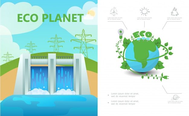 Composición de ecología plana con líneas de alta tensión de la estación hidroeléctrica eco planeta bombilla sol signo de reciclaje vector gratuito