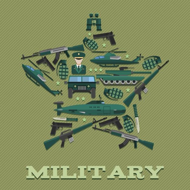 Composición del ejército estelar combinada en forma de estrella vector gratuito