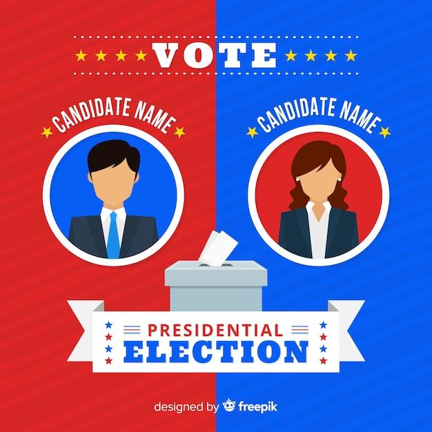Composición de elecciones presidenciales con diseño plano vector gratuito