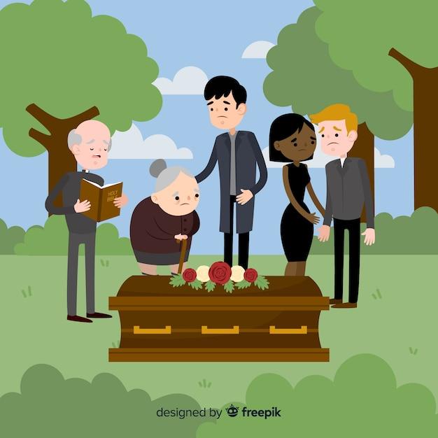 Composición elegante de funeral con diseño plano vector gratuito