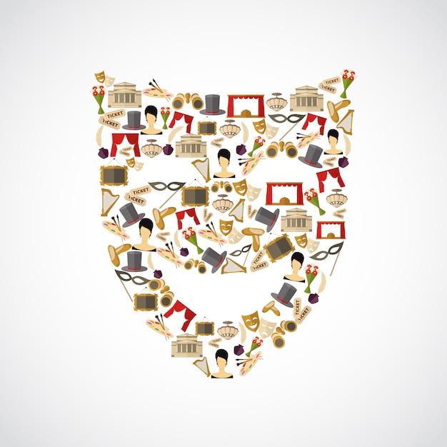Composición de elementos teatrales, forma de máscara. Vector Premium