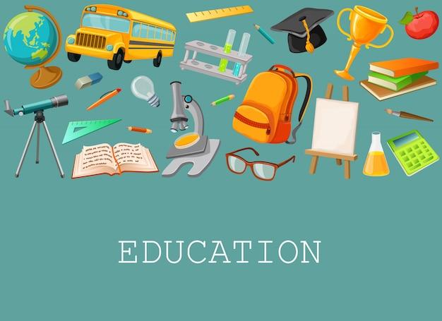Composición escolar de línea con conjunto de iconos aislados de colores Vector Premium