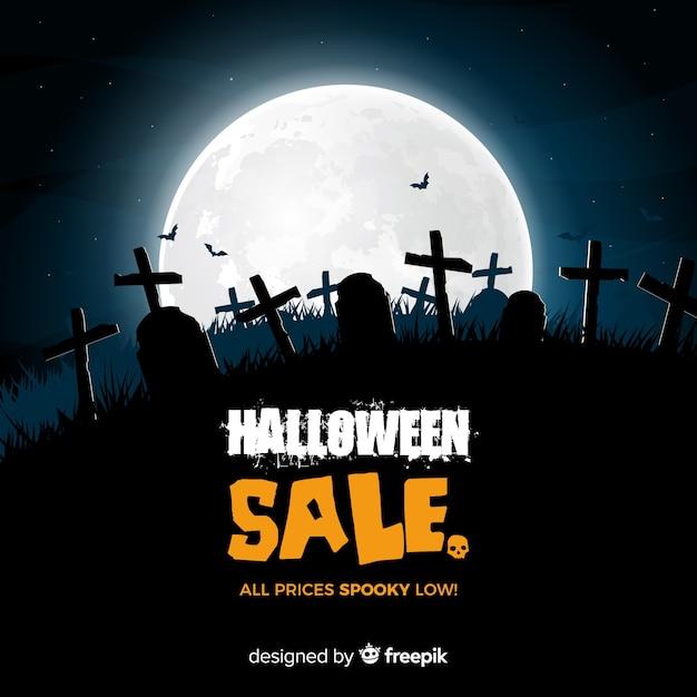 Composición espeluznante de rebajas de halloween con diseño realista vector gratuito