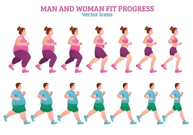 Composición de etapas de fitness vector gratuito