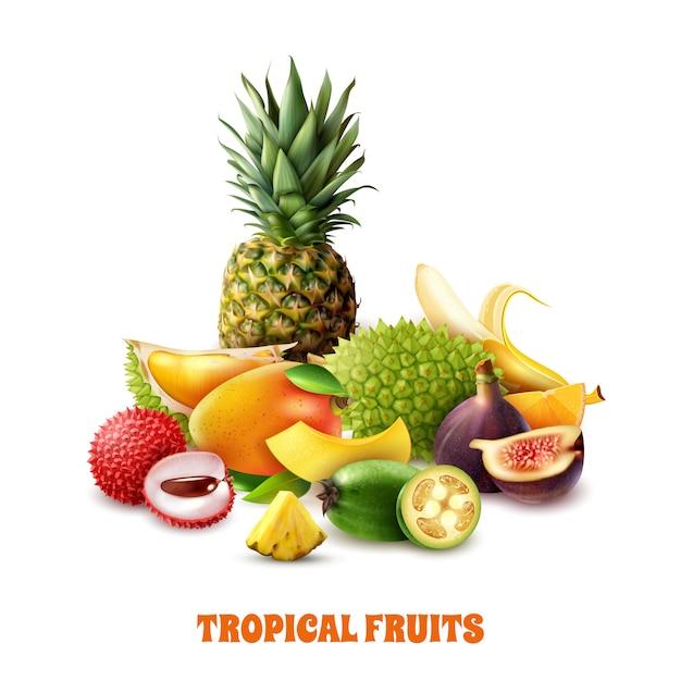 Composición exótica de frutas tropicales vector gratuito