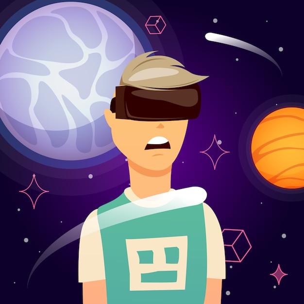 Composición de la exploración espacial de realidad virtual vector gratuito