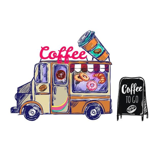 Composición exterior de cafetería vector gratuito