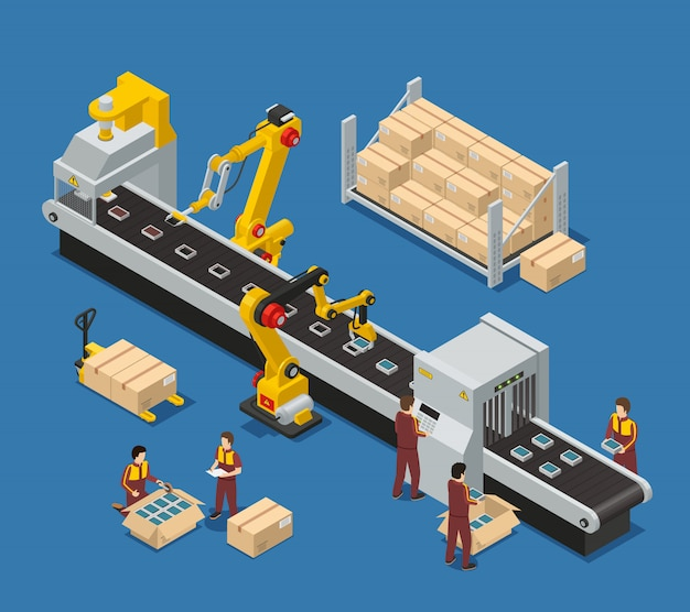 Composición de la fábrica de electrónica con un ingeniero que monitorea el transportador robótico y la producción de apilado de trabajadores vector gratuito