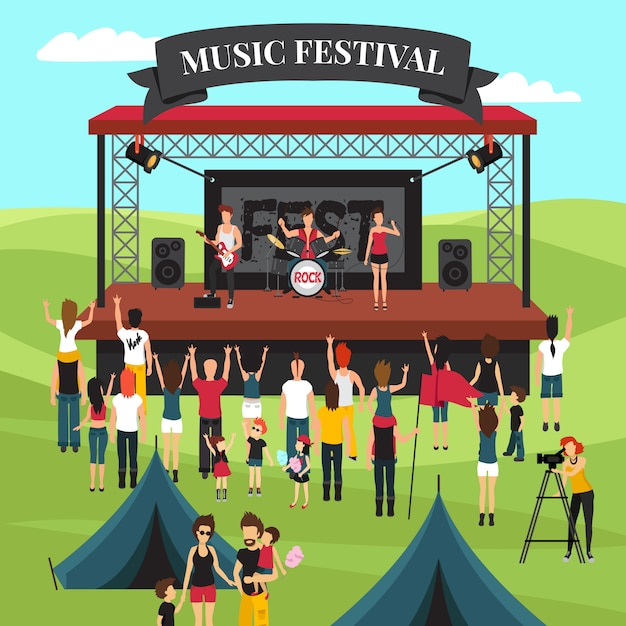 Composición de festival de música al aire libre vector gratuito