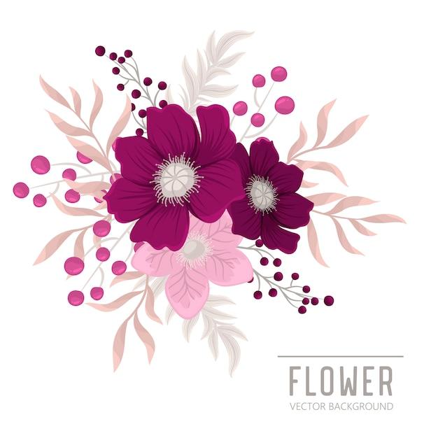 Composición floral con flores de colores. vector gratuito