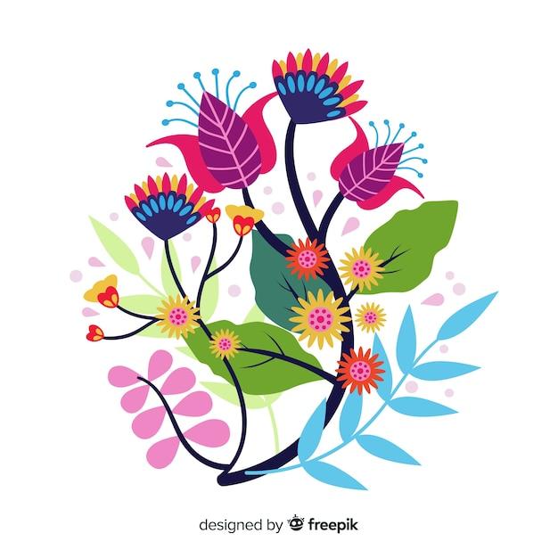 Composición con flores en flor y ramas con hojas vector gratuito