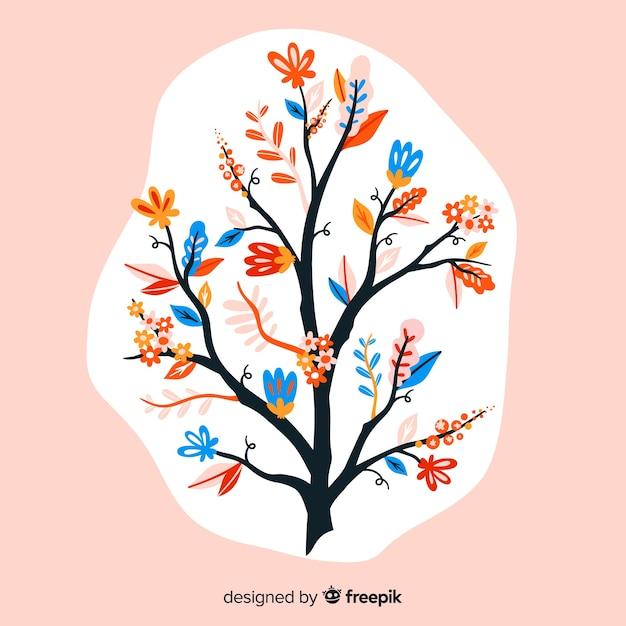 Composición con flores en flor y ramas en una mancha blanca vector gratuito