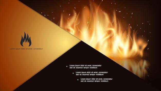 Composición de fuego caliente que brilla intensamente vector gratuito