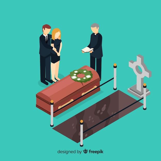 Composición de funeral con vista isométrica vector gratuito