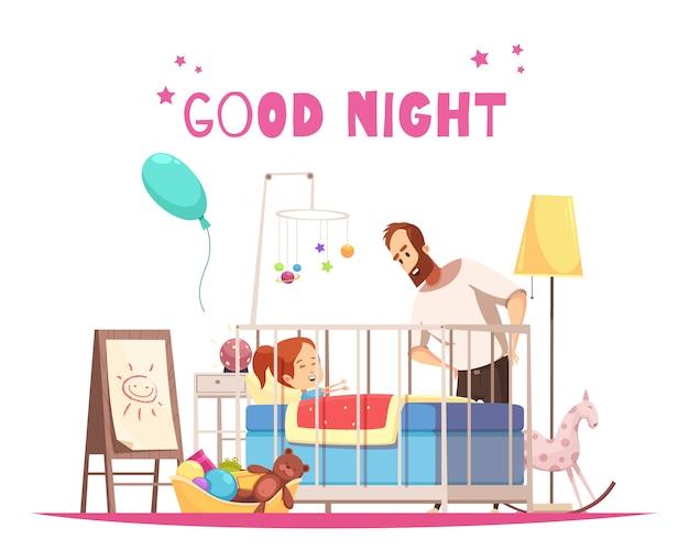Composición de la habitación de los niños con el padre que desea a la hija buenas noches antes de dormir vector gratuito