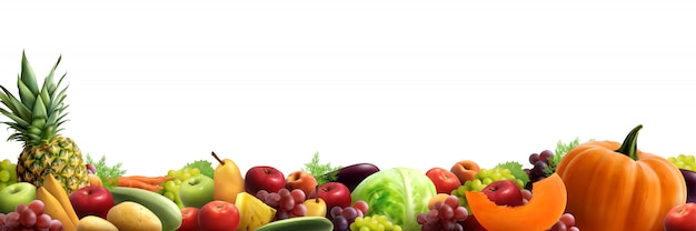Composición horizontal de frutas y verduras vector gratuito