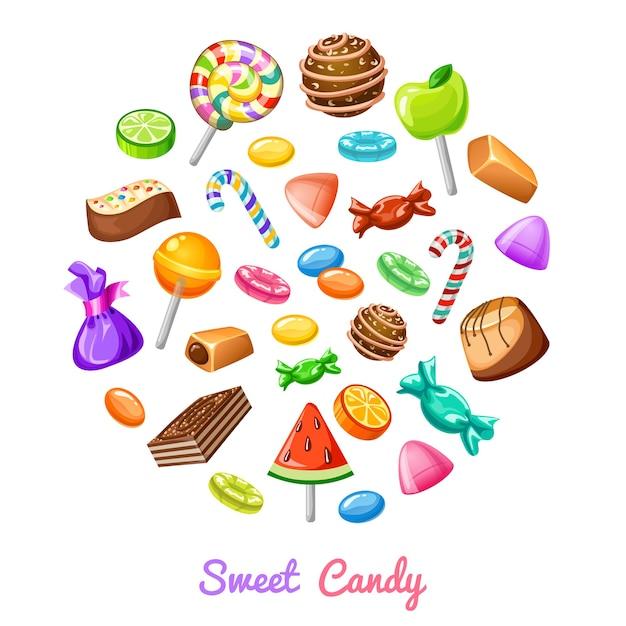Composición de icono de caramelo dulce vector gratuito