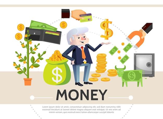 Composición de iconos de efectivo plano con dinero árbol tarjeta de pago monedas dólar seguro billetera de vaca imán financiero vector gratuito