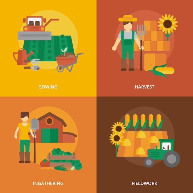 Composición de los iconos planos de tierras de agricultores vector gratuito