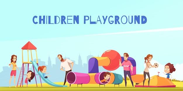 Composición infantil de juegos infantiles vector gratuito