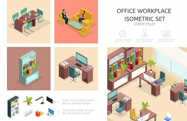 Composición interior de la oficina isométrica con muebles de estantería de trabajo de negocios hablando colegas computadora computadora portátil plantas lámpara acondicionador carpetas de archivos vector gratuito