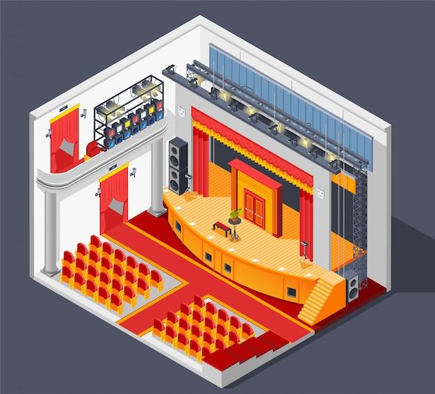 Composición interior del teatro vector gratuito